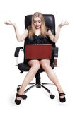 Young shocked businesswoman with laptop Royalty Free Stock Photo