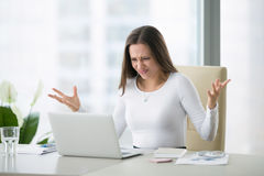 Young shocked businesswoman royalty free stock photo