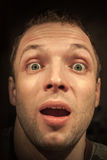 Young shocked Caucasian man portrait Stock Image