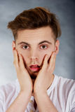 Young shocked man. Royalty Free Stock Images