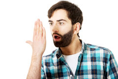 Young shocked man with mouth open. Royalty Free Stock Photo