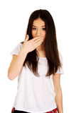Young shocked woman. Royalty Free Stock Photo