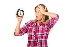 Young shocked woman holding alarm clock Stock Photography