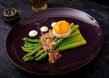 Young shoots of asparagus with ham and chicken egg yolk Stock Image