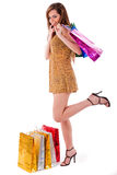 Young shopaholic women Royalty Free Stock Photography