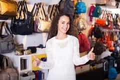 Young shopgirl in haberdashery shop Stock Photos