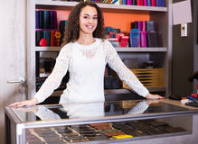 Young shopgirl in haberdashery shop Stock Image