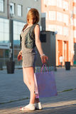 Young shopper on the city street. Stock Image