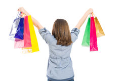 Young shopping girl from behind Stock Images
