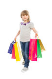 Young shopping girl walking Royalty Free Stock Images