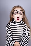 Young shouting child in glasses Royalty Free Stock Photography
