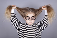 Young shouting child in glasses Stock Images