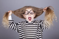 Young shouting child in glasses Stock Image