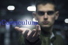 Concept and message of curriculum vitae. Young showing the concept and message of curriculum vitae royalty free stock images