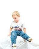 Young Shy And Uncertain American Blond Boy Royalty Free Stock Image