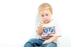 Young Shy And Uncertain American Blond Boy Stock Photo
