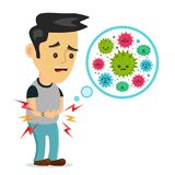 Young sick man having stomach ache, food. Poisoning, stomach problems, abdominal pain. Vector flat cartoon character illustration.Medical concept.Bacteria,germs Stock Photos