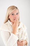 Young Sick Winter Woman In Knit Clothes Royalty Free Stock Photo