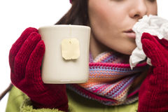 Young Sick Woman Holding Cup with Blank Tea Bag Hanging Stock Photos