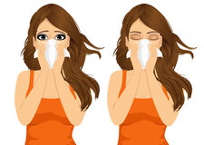Young sick woman ill suffering allergy. Portrait of young sick woman ill in two different outfit styles suffering allergy using white tissue on noseisolated on Stock Photos