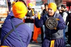Young sikh boys performing martial art Royalty Free Stock Photo