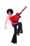 Young singer with afro cut. And guitar Royalty Free Stock Photos