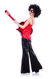 Young singer with afro cut. And guitar Royalty Free Stock Image
