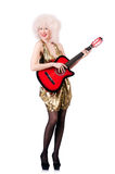 Young singer. With afro cut and guitar Royalty Free Stock Photography