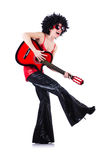 Young singer. With afro cut and guitar Royalty Free Stock Image