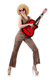 Young singer with afro cut. And guitar Stock Photography