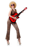 Young singer. With afro cut and guitar Royalty Free Stock Photo