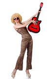 Young singer. With afro cut and guitar Royalty Free Stock Photos