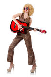 Young singer with afro cut. And guitar Stock Photos