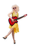 Young singer with afro cut. And guitar Stock Photo