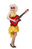 Young singer with afro cut. And guitar Stock Images