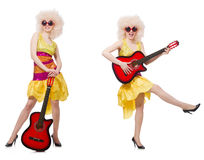 The young singer with afro cut and guitar Stock Images