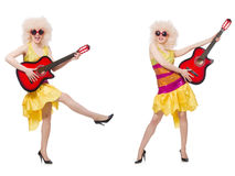 The young singer with afro cut and guitar Stock Photos