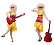 The young singer with afro cut and guitar Royalty Free Stock Photos