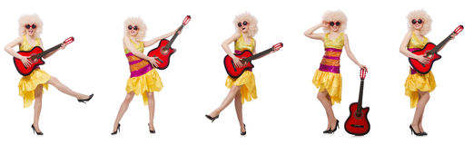 The young singer with afro cut and guitar Stock Photography
