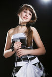Young singer girl at studio Stock Photo