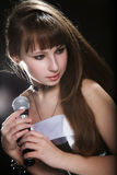 Young singer girl at studio Royalty Free Stock Photo