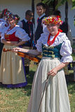 Young singer girl at violin from Poland in traditional costume 1 Royalty Free Stock Photos