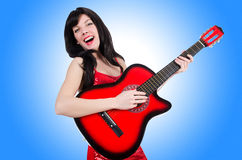 Young singer guitar Stock Photos