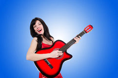 Young singer guitar on white Royalty Free Stock Photos