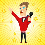 Young singer with microphone Royalty Free Stock Images