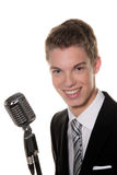Young singer with retro mic sing karaoke Royalty Free Stock Photo