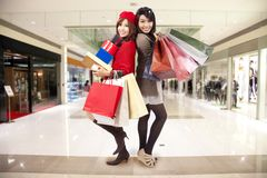 Young sister go shopping Royalty Free Stock Image