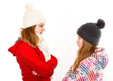 Young sisters arguing. Portrait photo of beautiful young sisters arguing Royalty Free Stock Photography