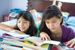 Young sisters enjoying their reading in home envir Royalty Free Stock Image
