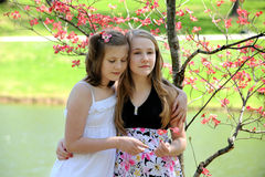 Young Sisters Outdoors Stock Image